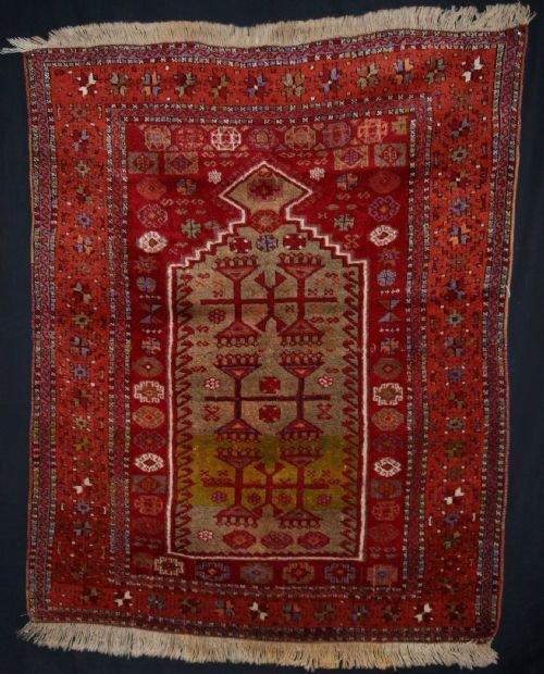 antique eastern anatolian turkish kurdish yuruk prayer rug full pile circa 1900