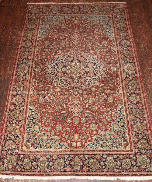 antique persian kashan rug classic design fine weave circa 1900