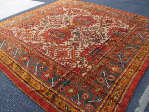 antique turkish oushak carpet great design colour square size circa 1900