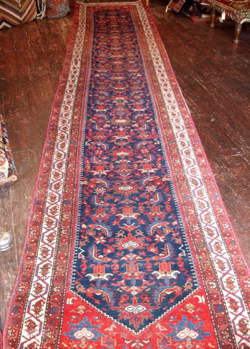 antique malayer runner 16 feet long herati design superb red circa 1900