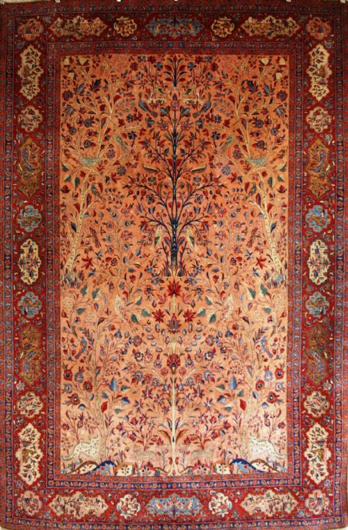 antique kashan carpet paradise garden tree of life birds animals superb circa 1900