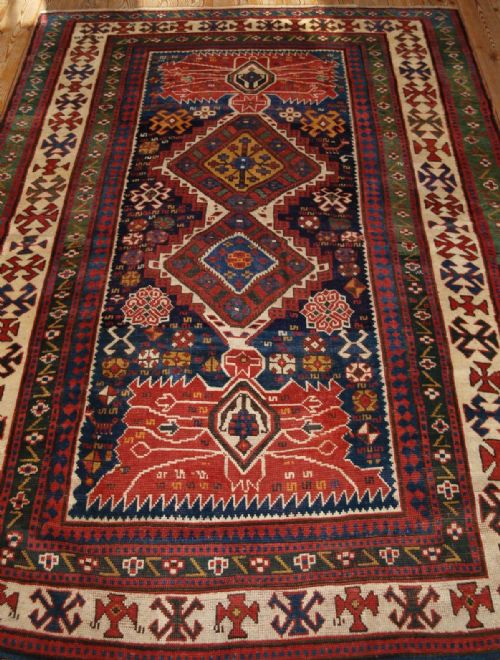 Thumbnail picture of: ANTIQUE CAUCASIAN KAZAK RUG, WILD DESIGN & AMAZING COLOUR, LATE 19TH CENT