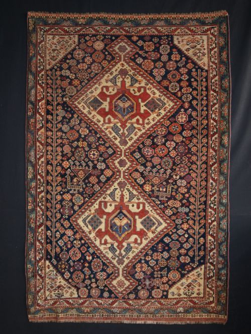 Thumbnail picture of: ANTIQUE SOUTH WEST PERSIAN QASHQAI RUG, OUTSTANDING EXAMPLE, TWO LARGE PEACOCKS, CIRCA 1870.