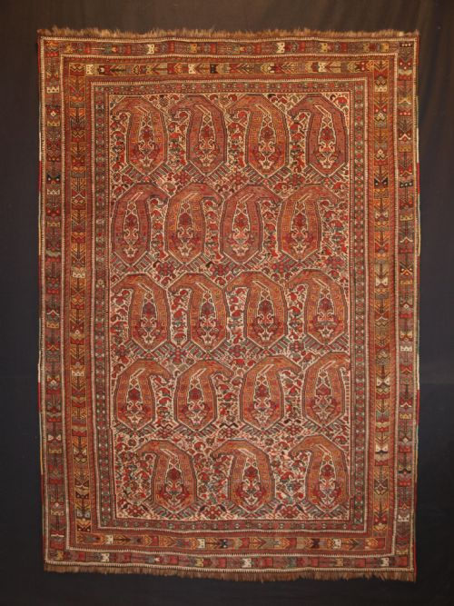 Thumbnail picture of: ANTIQUE SOUTH WEST PERSIAN NOMADIC TRIBAL KHAMSEH RUG WITH BOTEH DESIGN, CIRCA 1880.