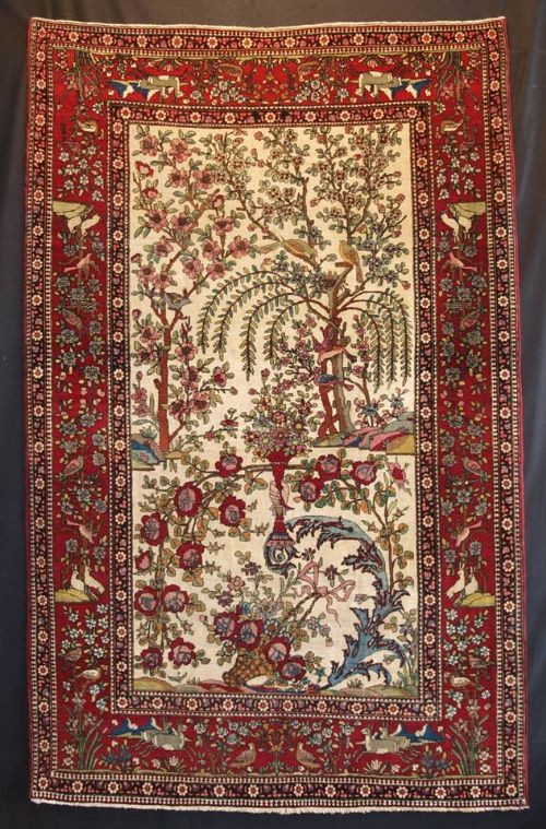 antique persian isfahan rug paradise garden design birds animals tree of life circa 1900