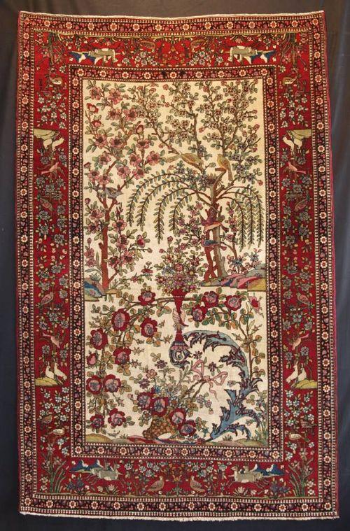 antique persian isfahan rug paradise garden design birds animals tree of life circa 1900
