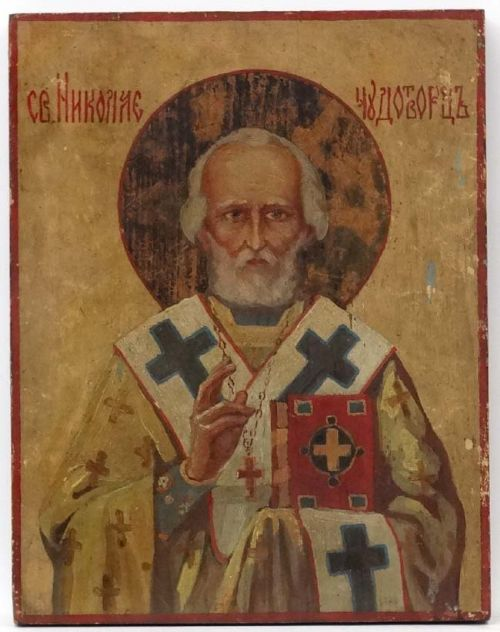 russian icon of saint nicholas tempera and gesso on wood panel late 19th century