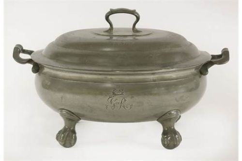 antique english pewter soup tureen king george iv coronation banquet service by thomas alderson circa 1821
