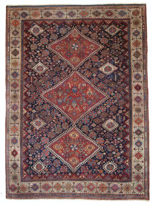 Thumbnail picture of: ANTIQUE SOUTH WEST PERSIAN QASHQAI RUG, SHEKARLU BORDER, TRIPLE MEDALLION, SUPERB. CIRCA 1860.