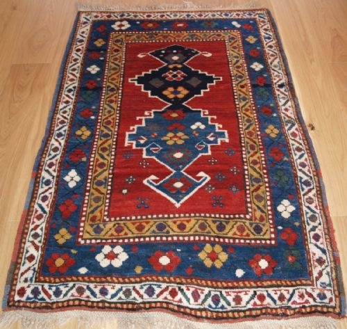 Thumbnail picture of: ANTIQUE CAUCASIAN KAZAK RUG WITH SUPERB COLOUR AND LONG GLOSSY PILE, LATE 19TH CENTURY.