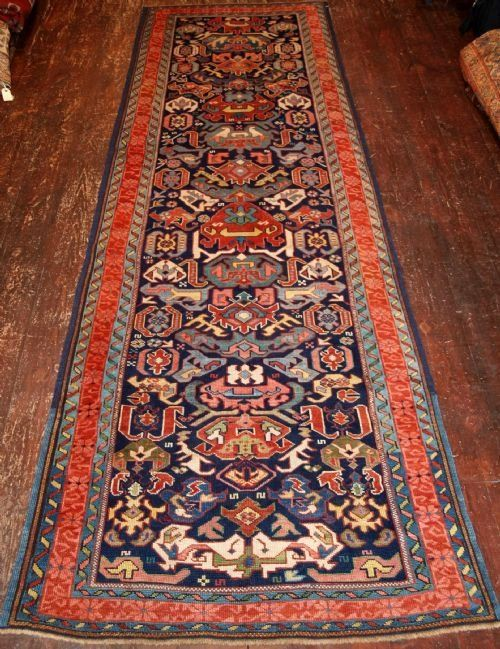 antique caucasian seichur or alpankuba runner outstanding colour 4th quarter 19th century