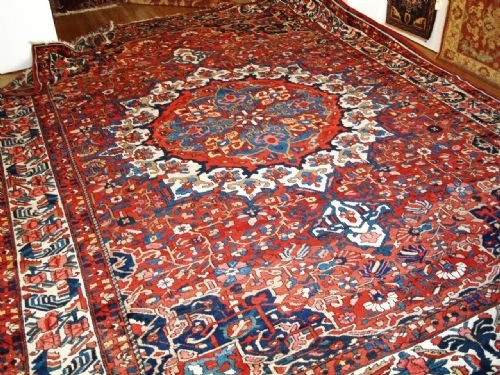 antique bakhtiari carpet great condition with superb colour design circa 1900