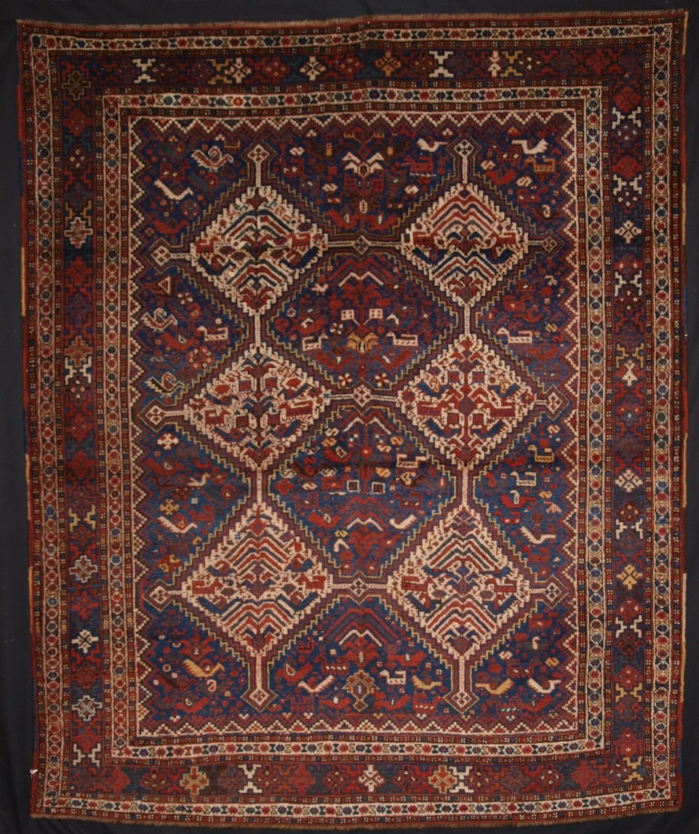antique south west persian khamseh tribal rug superb design with birds circa 1900