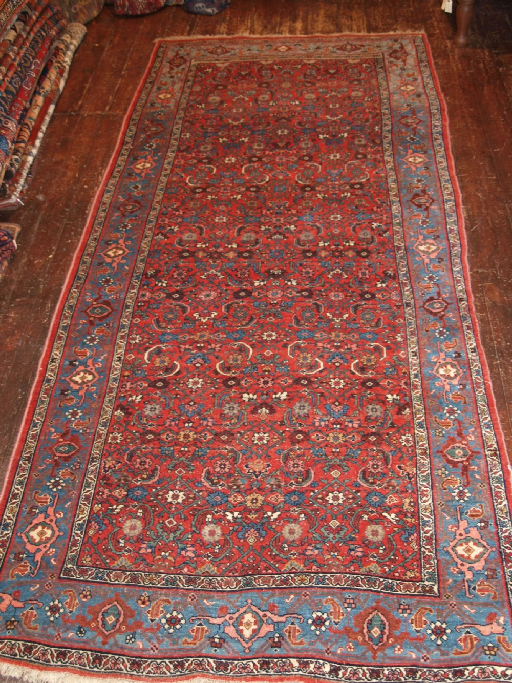 antique n w persian bidjar kelleh herati design light blue border circa 1900