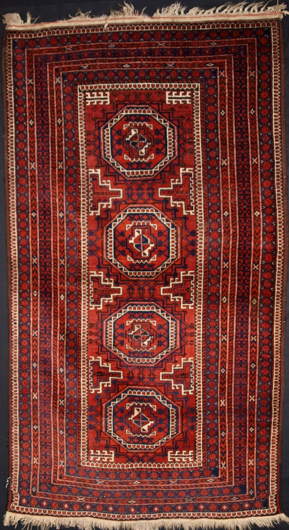 antique baluch rug turkmen gul design fine weave great colour circa 1900