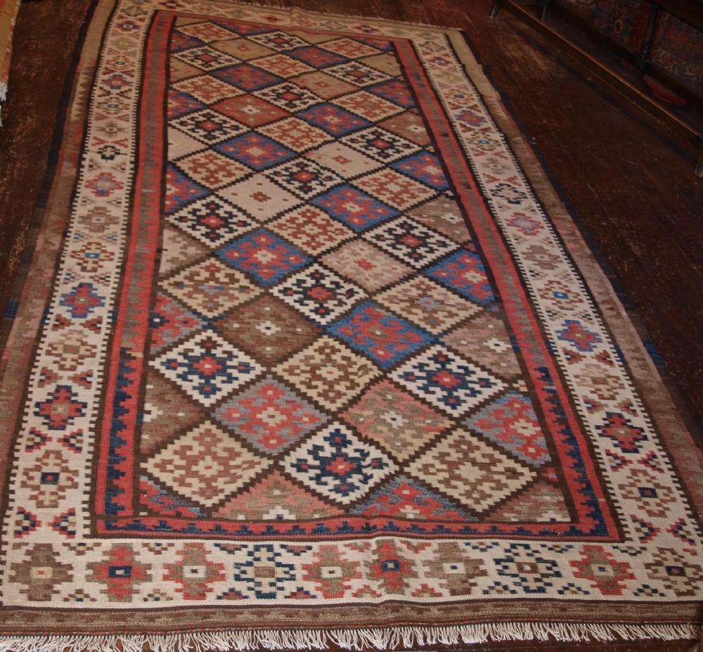 old persian varamin kilim traditional design soft colours circa 1920