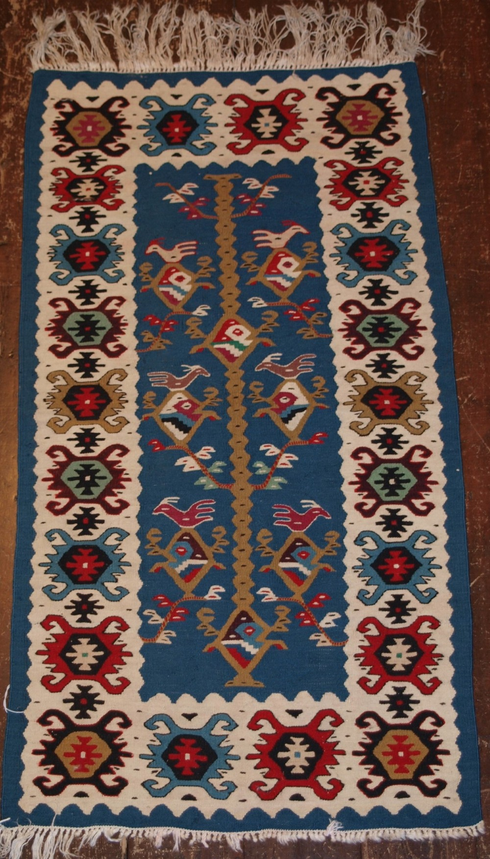 old turkish kilim of small size great colour with birds circa 1950