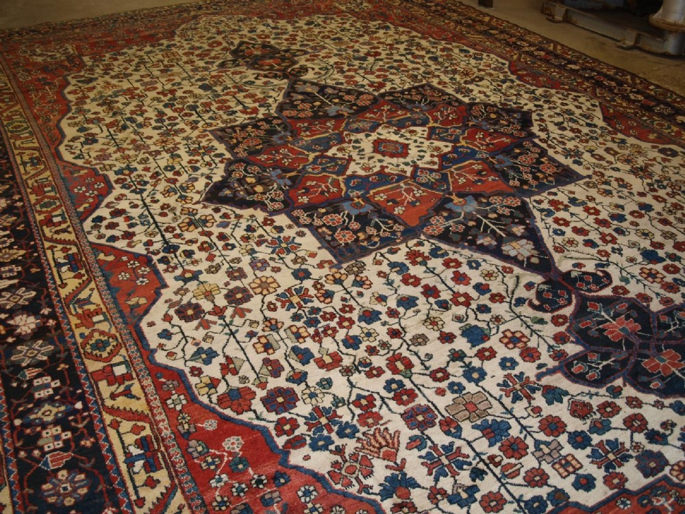 antique bakhtiari carpet large size stunning design colour circa 1900