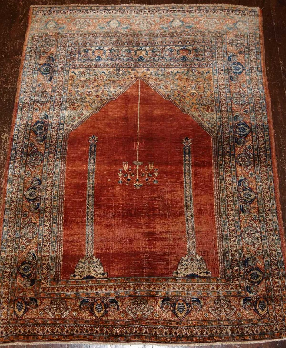 rug oushak botanical antique down by rugs doris turkish arrow leslie blau