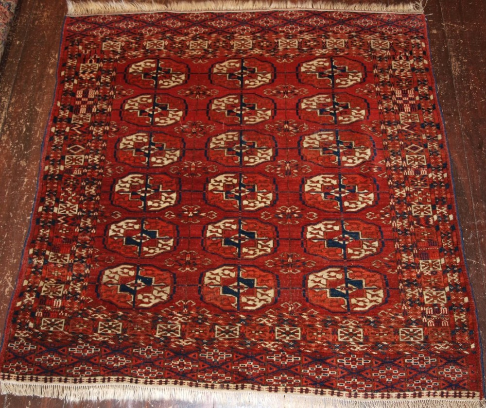 Antique Tekke Turkmen Dowry Rug Of Small Square Size