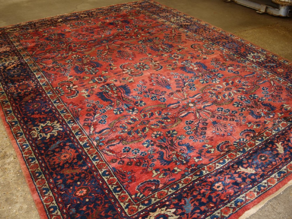antique sarouk carpet wonderful colours design large size circa 1900