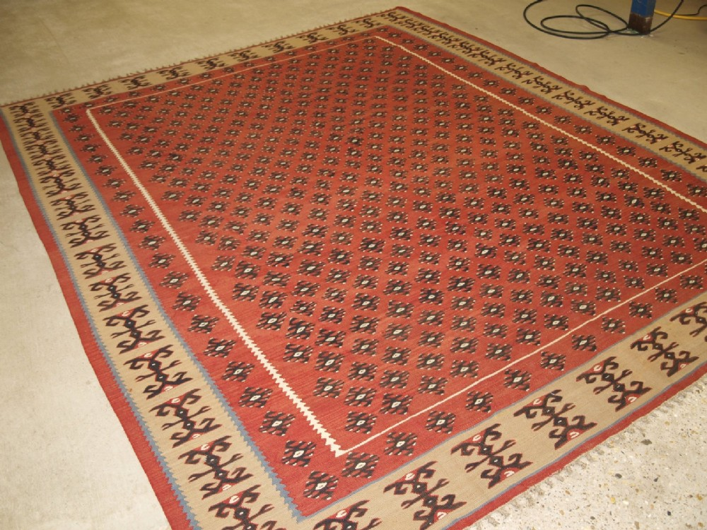 old turkish sharkoy kilim large size great border about 60 years old