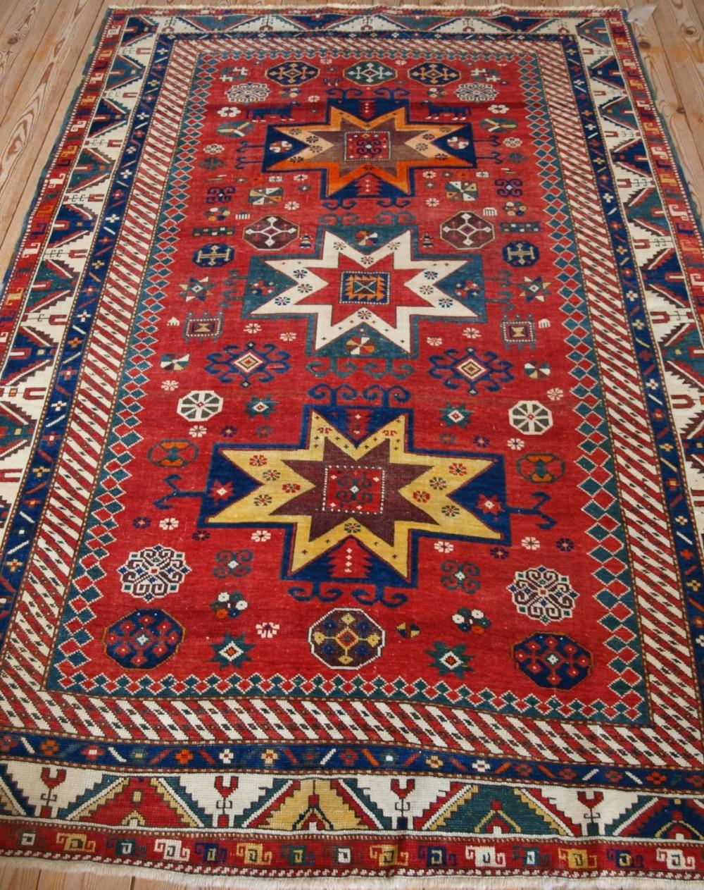 antique caucasian star kazak rug rare unusual design late 19th century