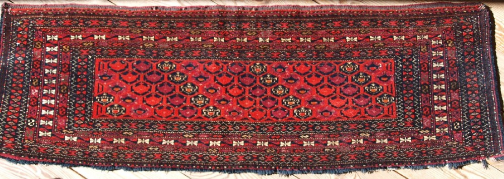 antique saryk turkmen shemle gul torba with silk highlights circa 1900