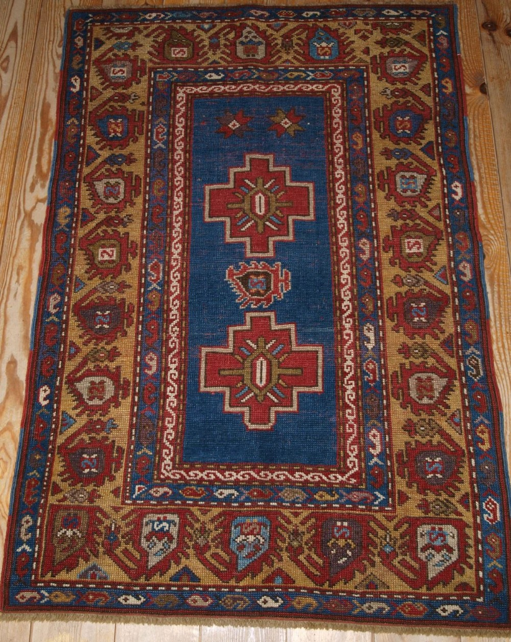 antique caucasian rug of small size unusual design late 19th cent