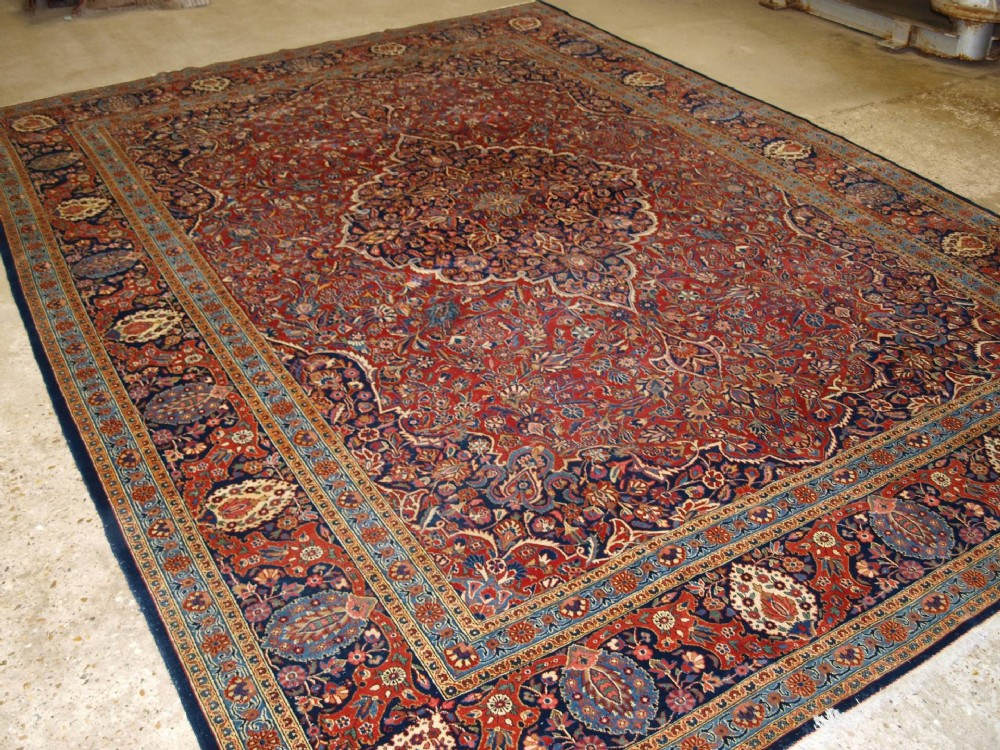 antique kashan carpet outstanding example with great design colour circa 1900