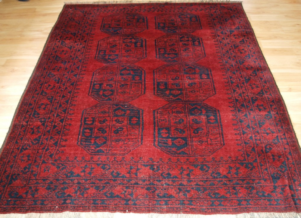 old afghan village rug traditional design with excellent colour circa 1920