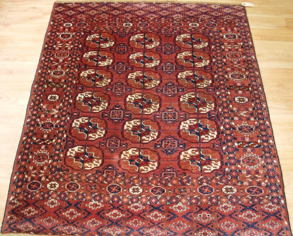 Antique Tekke Turkmen Dowry Rug Fine Weave Small