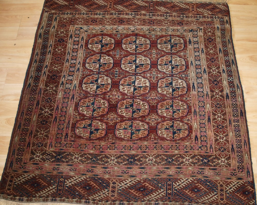 antique tekke turkmen dowry rug small square size circa 1900