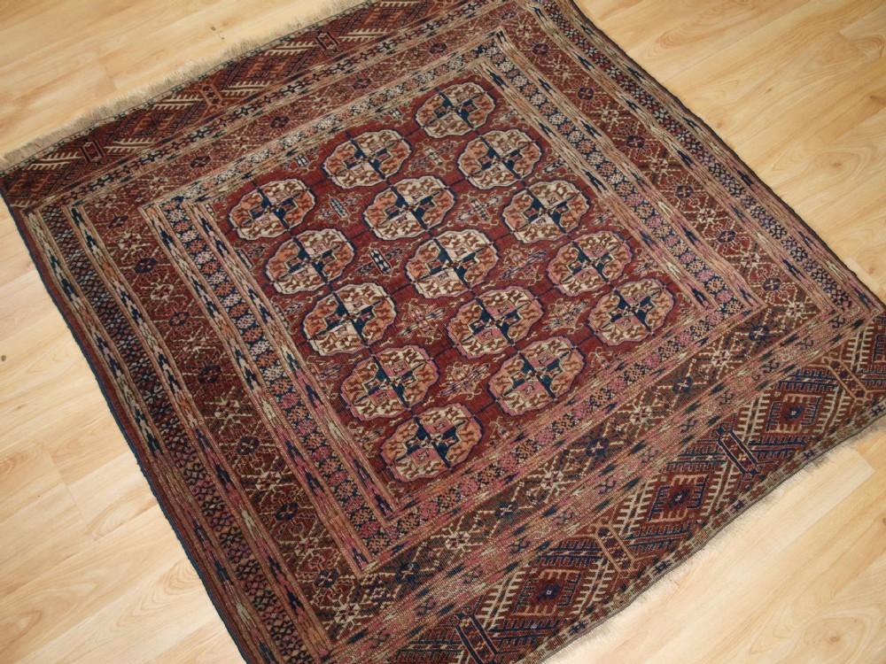 Antique Tekke Turkmen Dowry Rug Small Square Size
