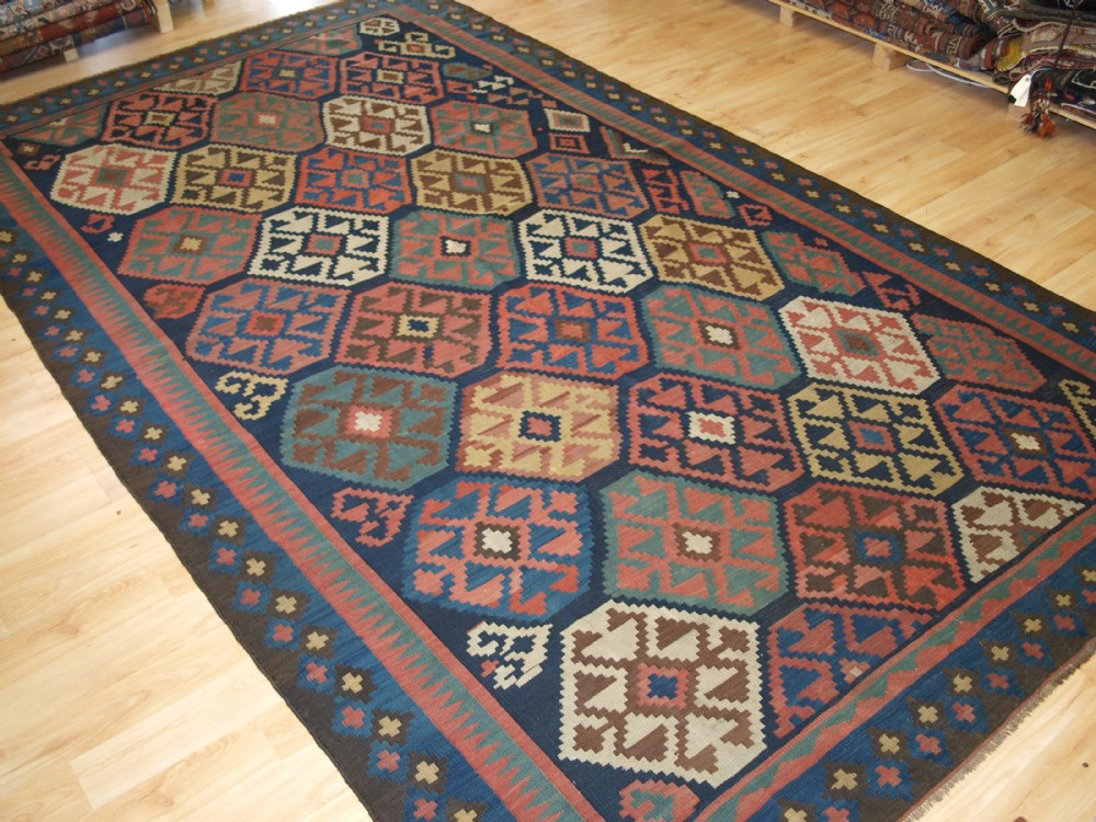 antique varamin kilim of outstanding bold graphic design circa 1900