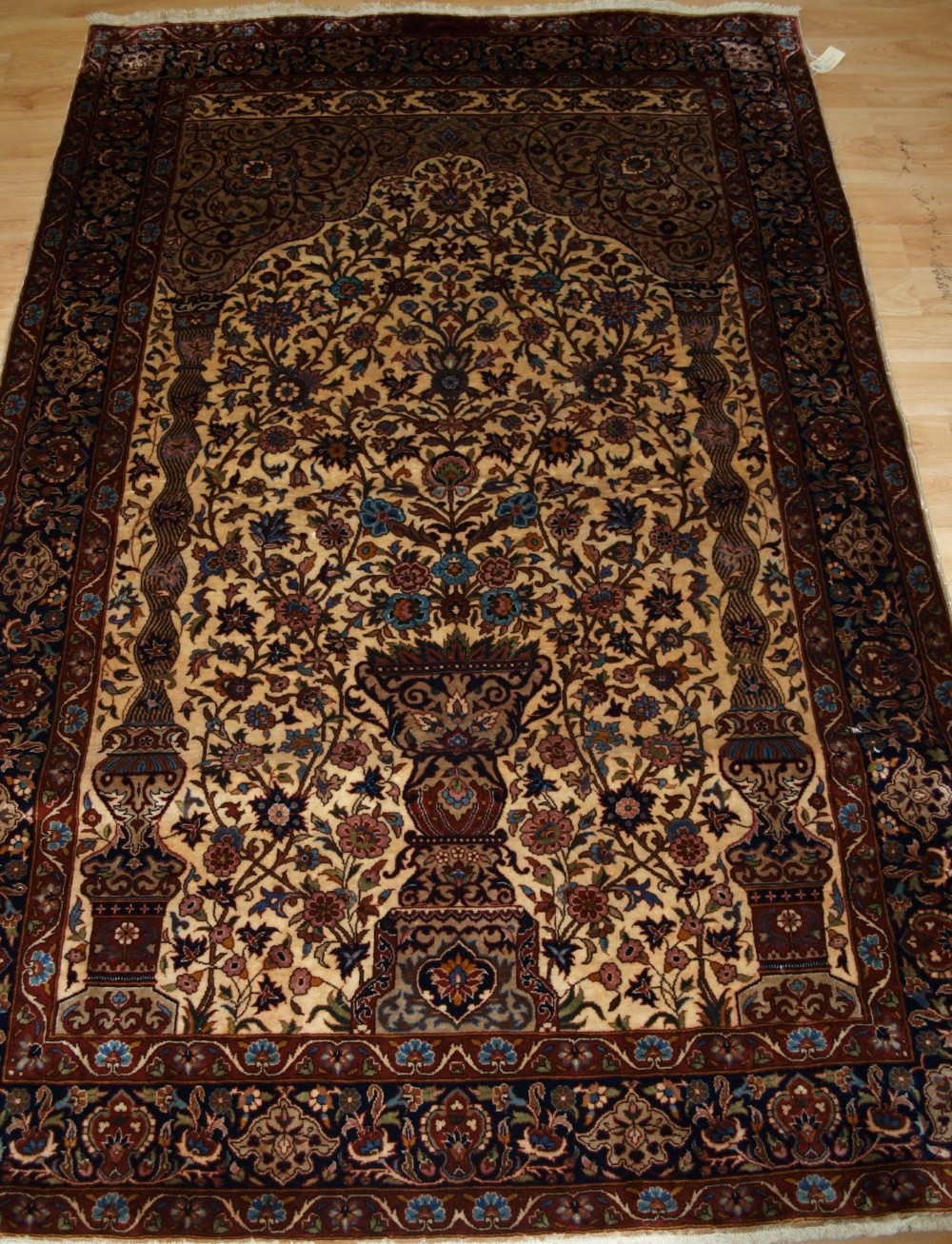 indian rug of classic isfahan vase prayer rug design about 30 years old