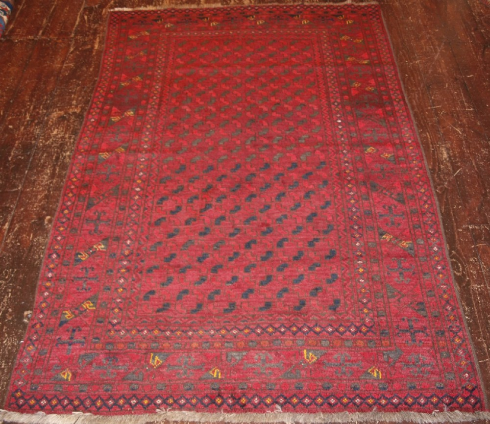 old afghan rug of turkmen design fine weave glossy wool circa 1920