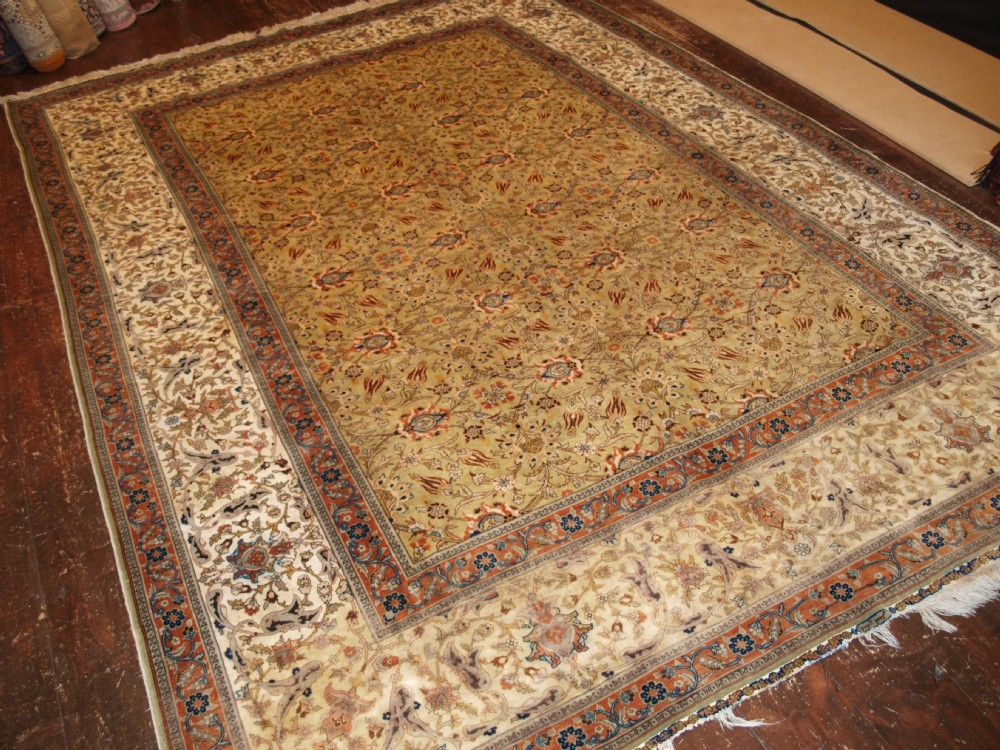 superb old turkish kayseri silk carpet rare pistachio green field hereke style about 50 years old