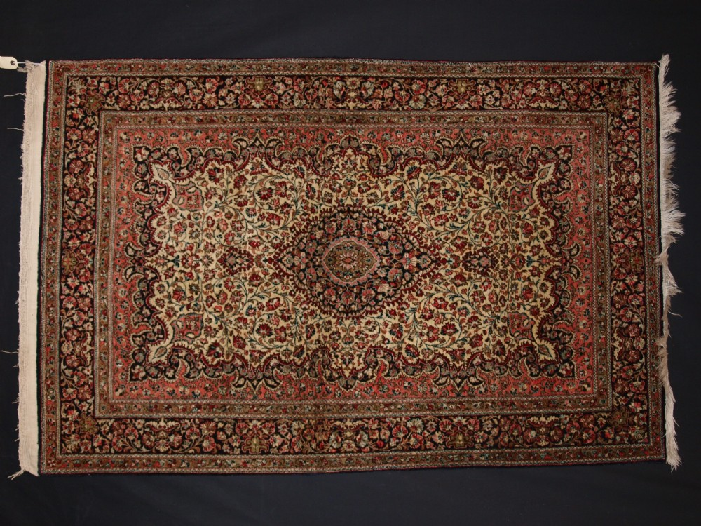 old persian qum silk rug detailed floral design with excellent colours about 40 years old