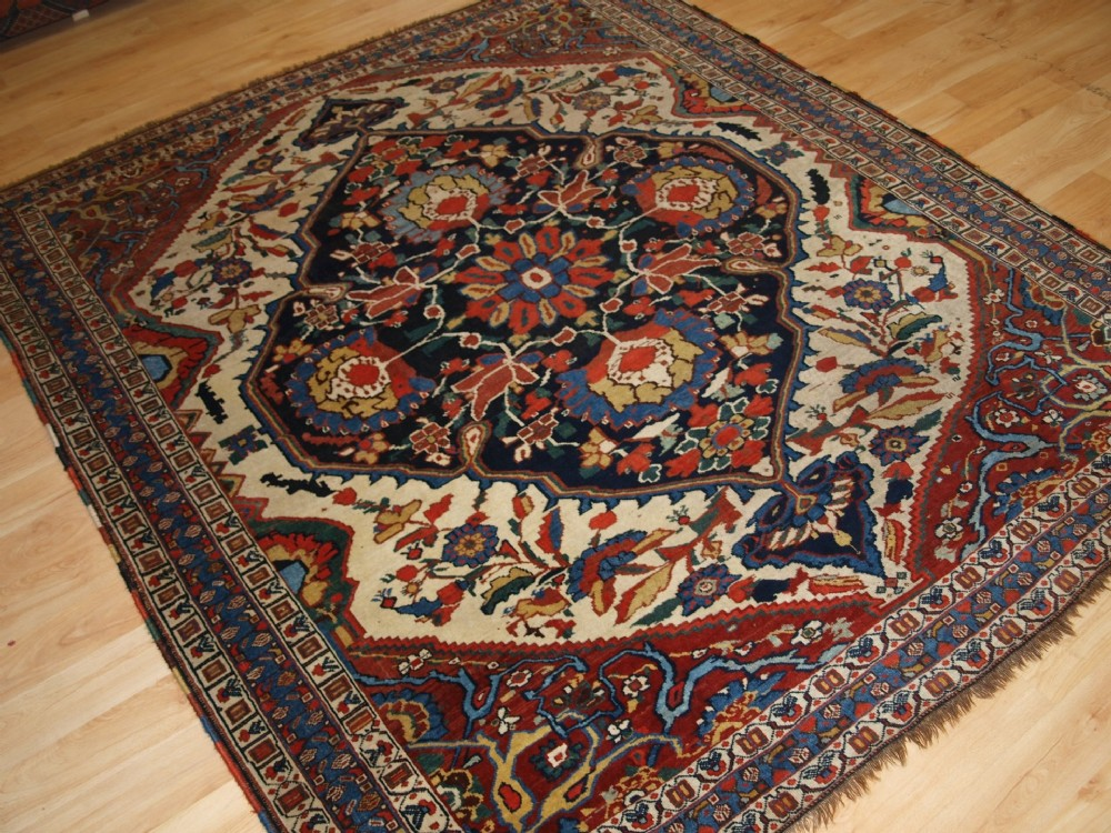 outstanding south west persian tribal khamseh rug rare design great colour circa 1870