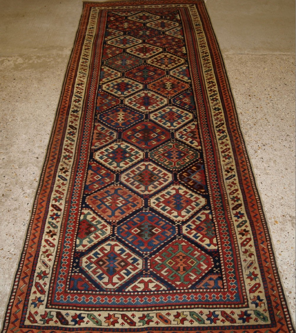 outstanding antique caucasian shirvan runner fine weave superb colours circa 1890
