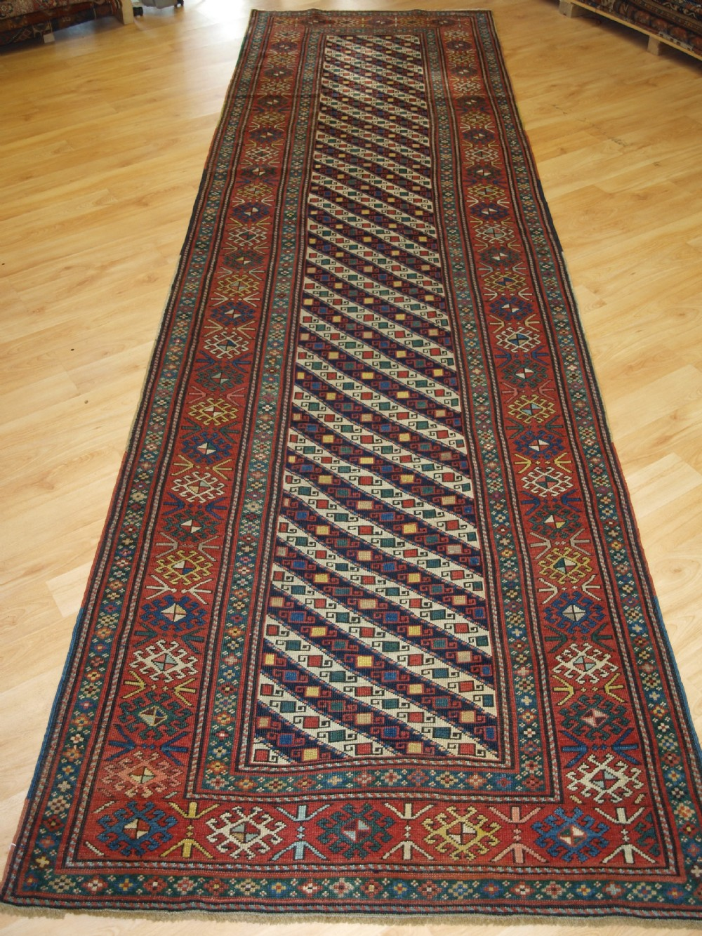 antique caucasian shirvan runner eastern caucasus stripe design with great colour circa 1890