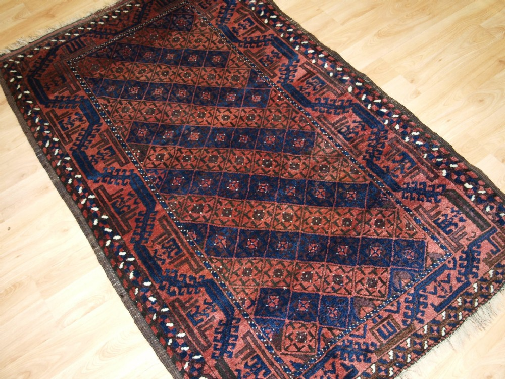 antique persian baluch rug diamond lattice design great condition circa 1900