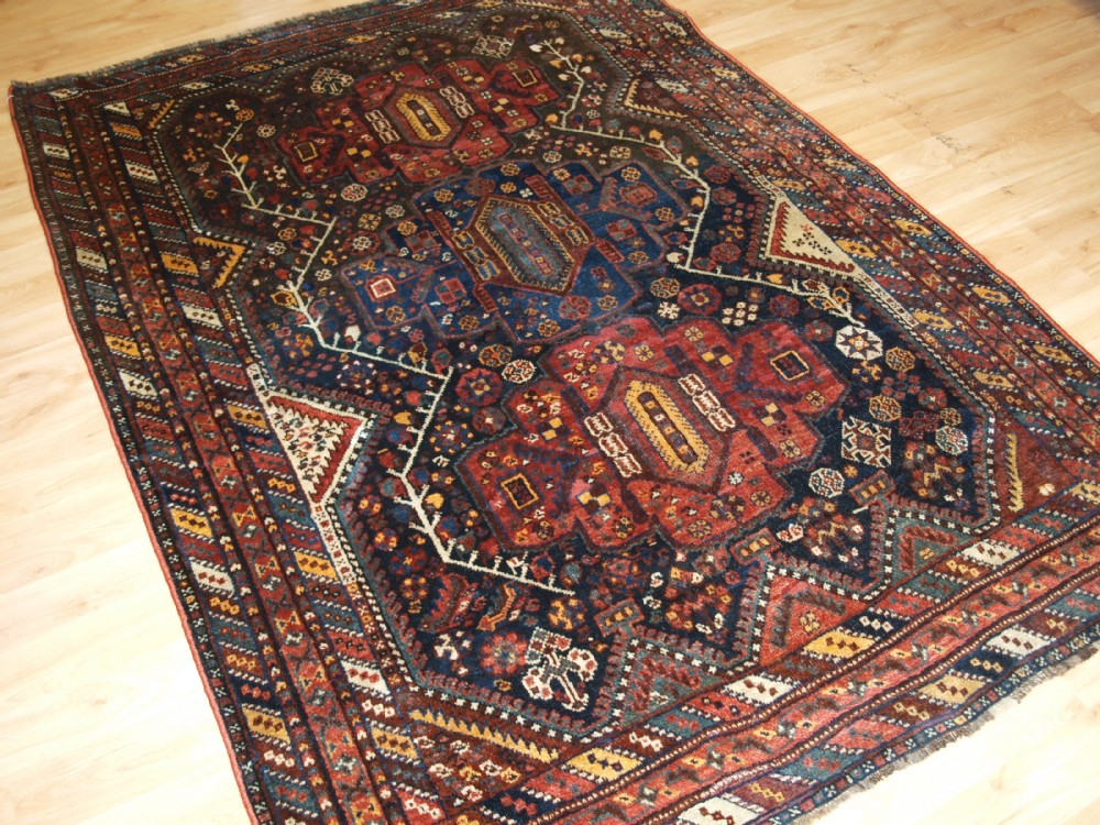 antique south west persian khamseh rug triple medallion great condition circa 190020