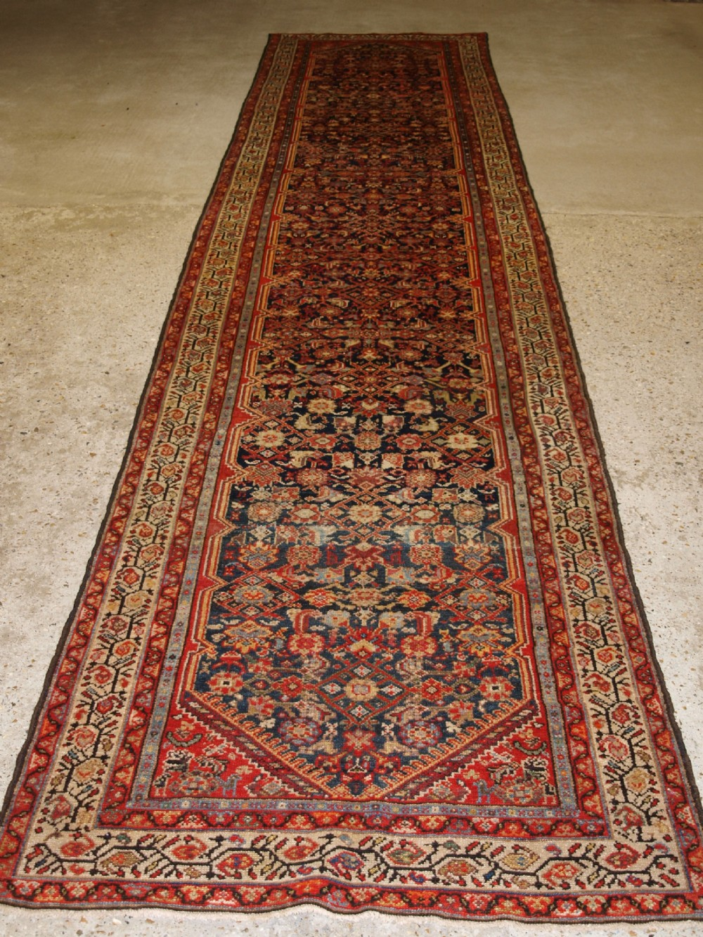 antique north west persian malayer runner very attractive colours circa 1900