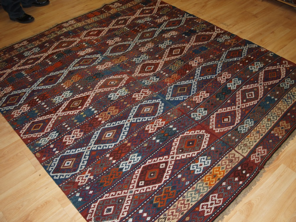 old turkish malatya kilim woven in two parts square size traditional design circa 1920