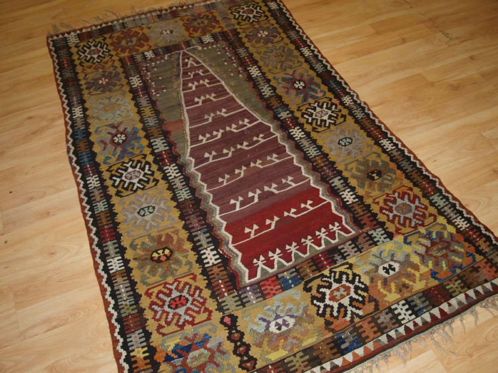 antique anatolian yahyali prayer kilim of superb design and colour circa 1900