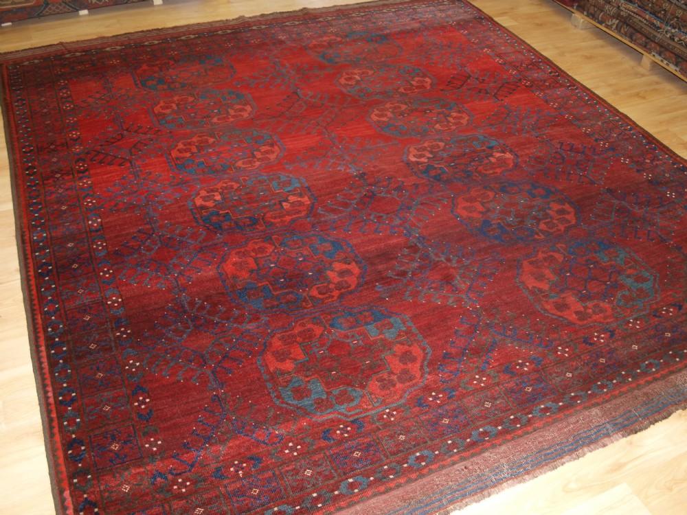 antique ersari turkmen main carpet small square size outstanding colour circa 1870