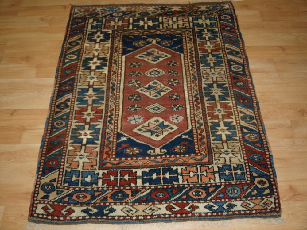 old turkish bergama rug of small size traditional design about 50 years old