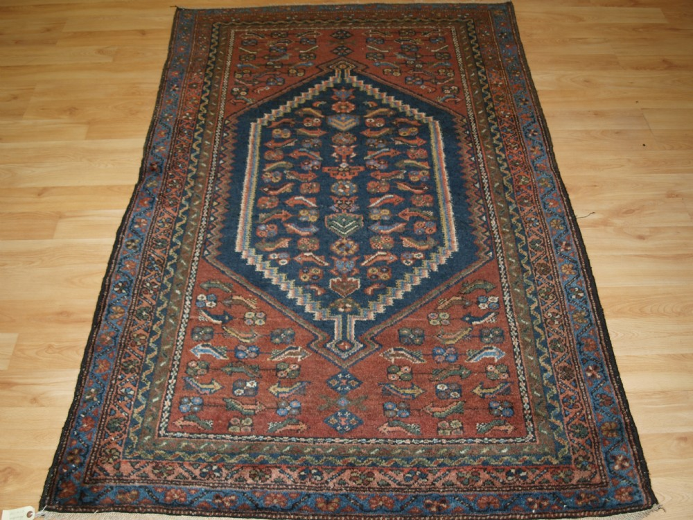 antique persian rug greater hamadan region unusual heratti design circa 1920